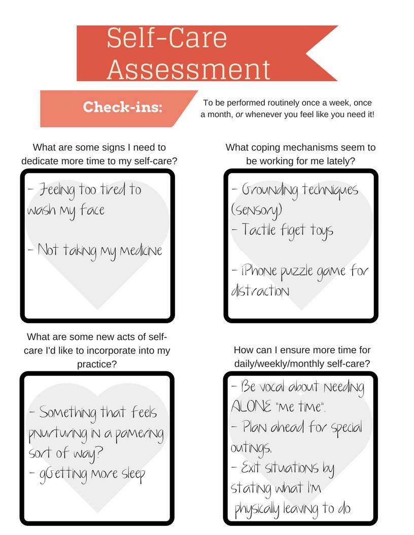 Selfcare Assessment Worksheet Printable Instant Download  Etsy For Self Care Worksheets For Adults