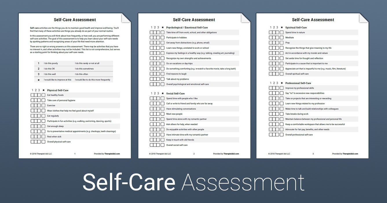 Selfcare Assessment Worksheet  Therapist Aid With Self Care Worksheets For Adults