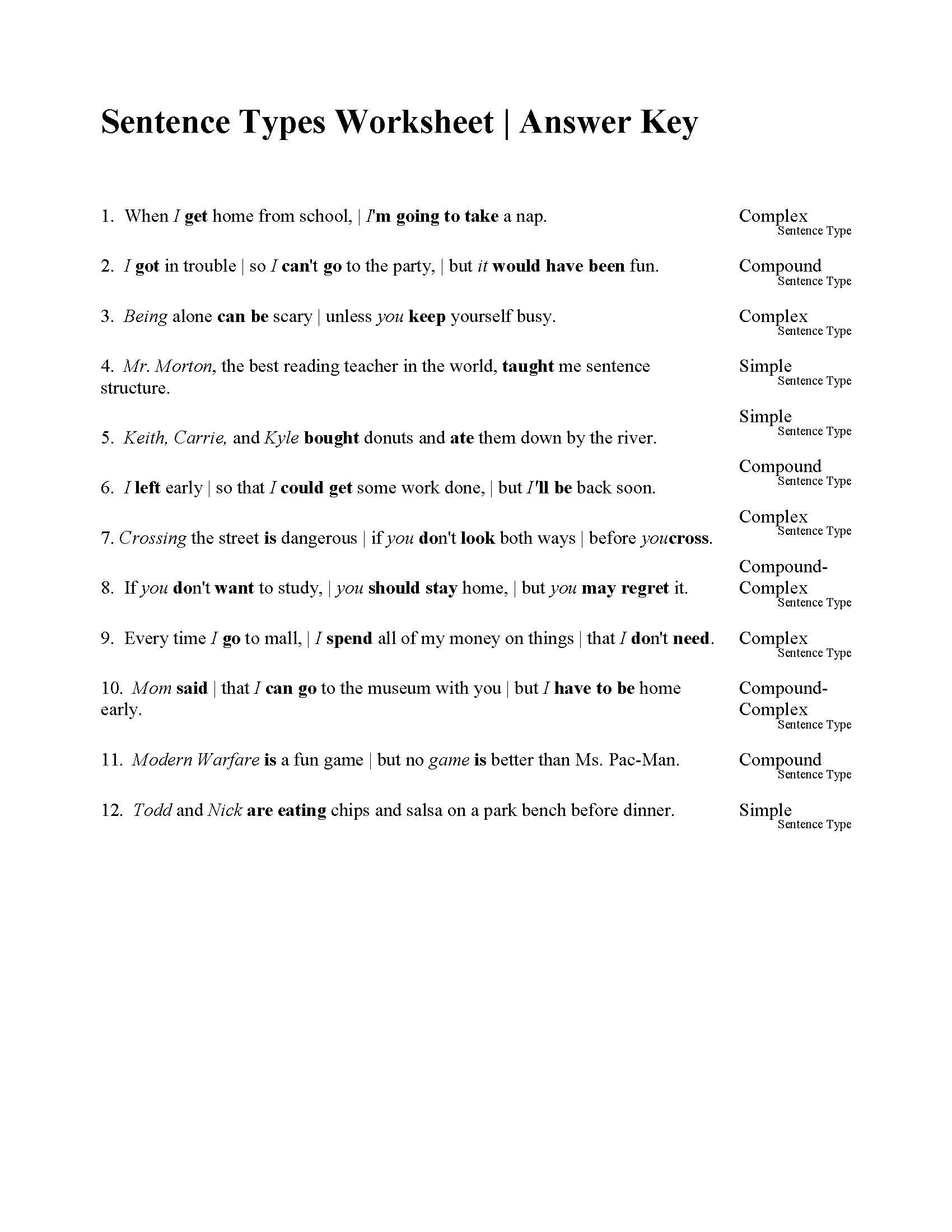Sentences Types Worksheet  Answers As Well As Simple Compound And Complex Sentences Worksheet Pdf With Answers