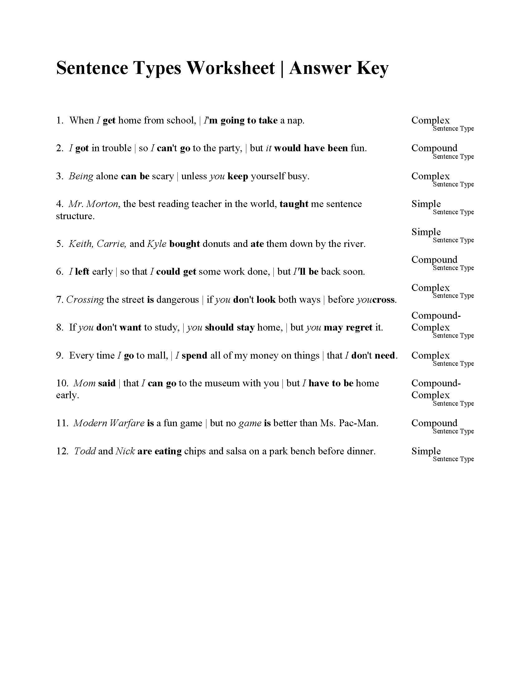 Sentences Types Worksheet  Answers Within Kinds Of Sentences Worksheet