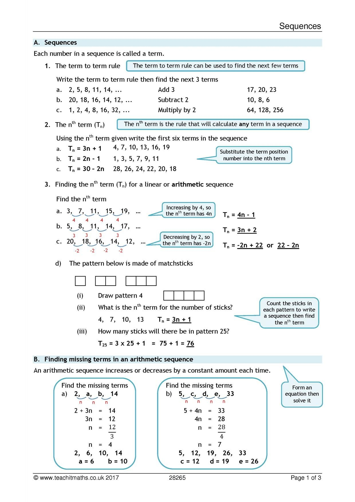 Sequences Review Sheet Together With Arithmetic Sequence Worksheet Pdf