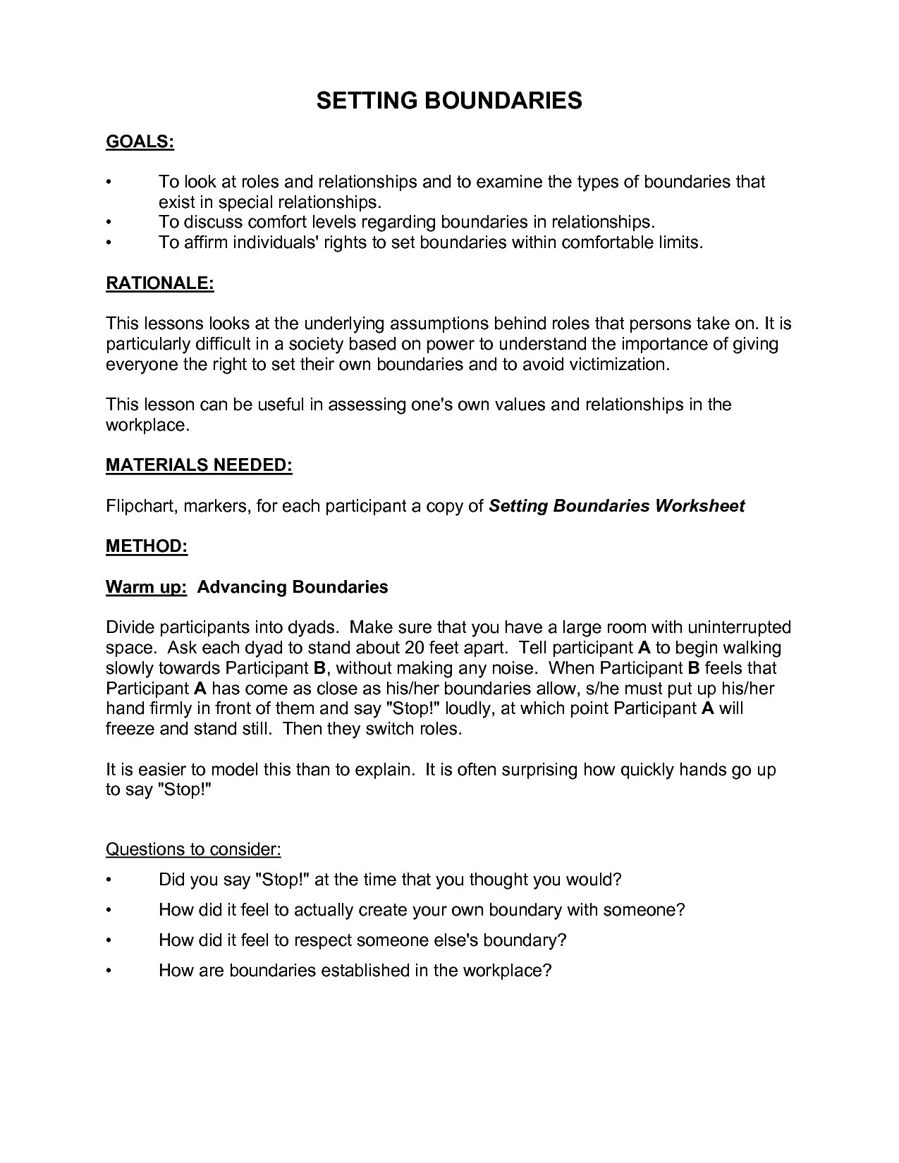 Setting Healthy Boundaries In Recovery Worksheets  Yooob With Setting Boundaries In Recovery Worksheets