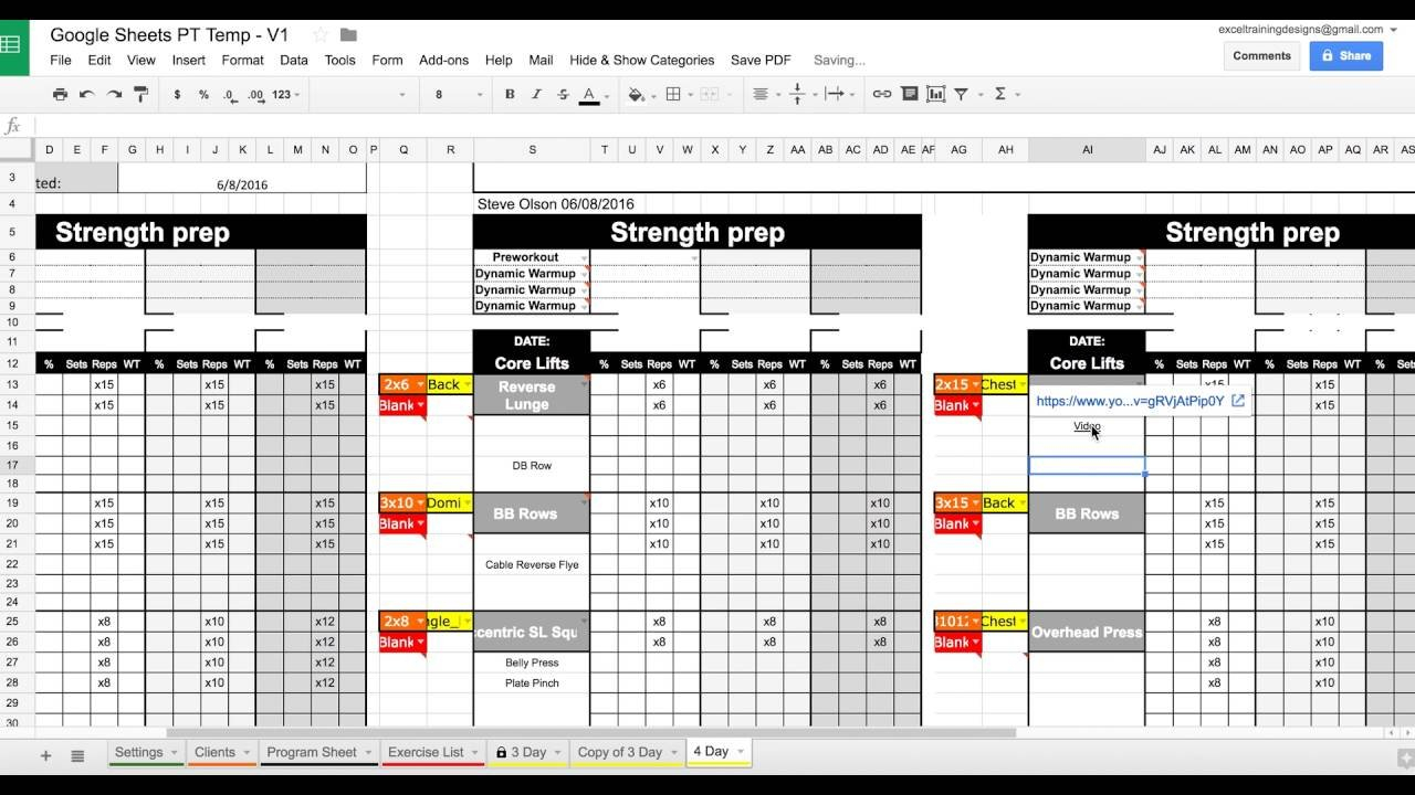 Setting Up Your Google Sheets Personal Training Template - Youtube With Personal Trainer Spreadsheet