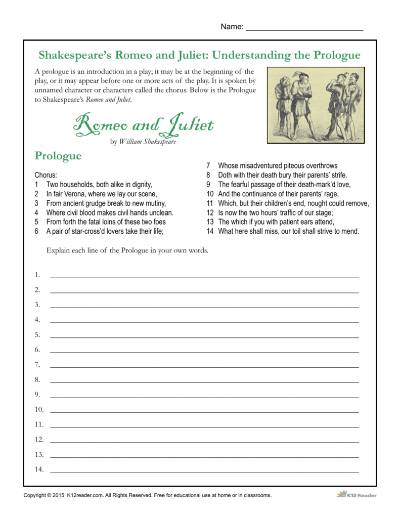 Shakespeare's Romeo And Juliet Understanding The Inside Romeo And Juliet Prologue Worksheet