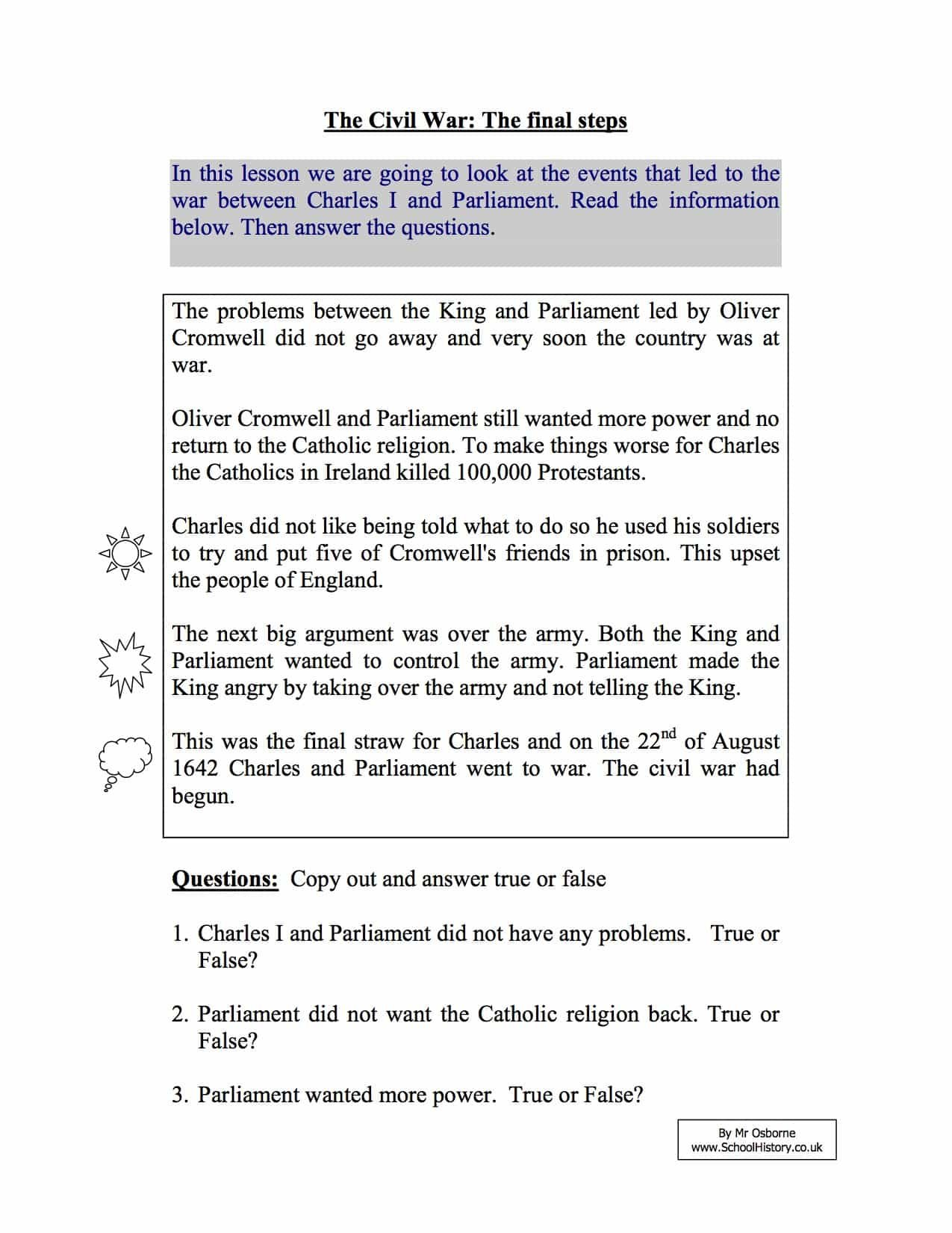 Short Term Causes Of The English Civil War  Year 8 Study Worksheet Along With Causes Of The Civil War Worksheet
