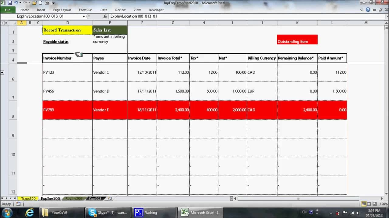 Simple Excel Bookkeeping Template   Youtube In Bookkeeping Excel Templates