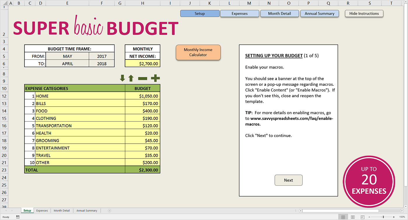 Simple Home Budget Spreadsheet Easy Excel Ate Savvy Spreadsheets ... Throughout How To Make A Good Budget Spreadsheet