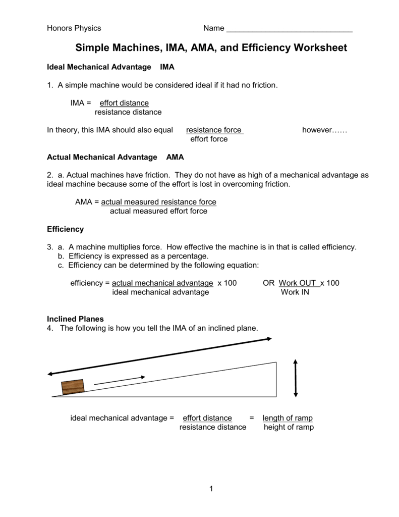 Simple Machines Ima Ama And Efficiency Worksheet Throughout Simple Machines And Mechanical Advantage Worksheet Answer Key