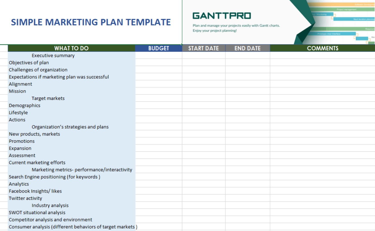 Simple Marketing Plan Template | Free Download | Excel Template Inside Marketing Spreadsheet Template