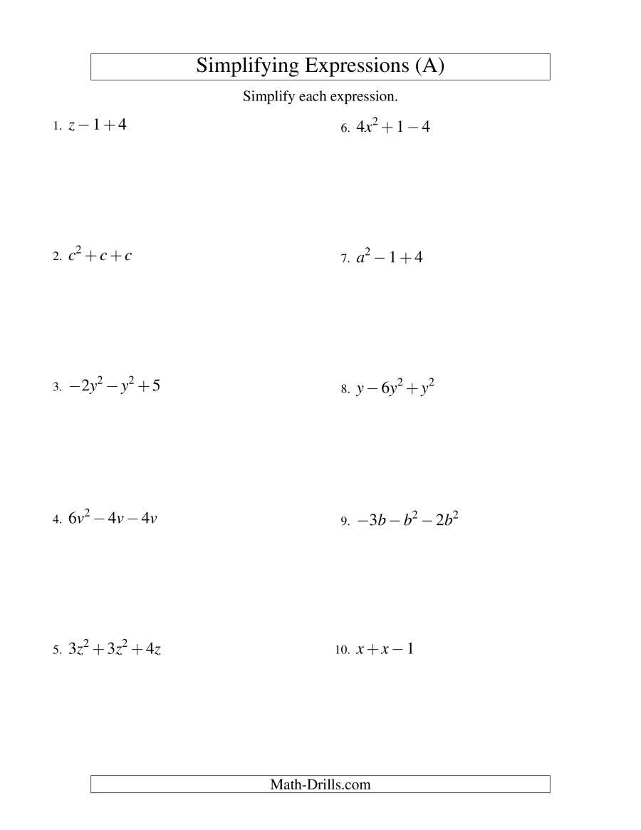 Simplifying Algebraic Expressions With One Variable And Three Terms Also Simplifying Expressions Worksheet With Answers