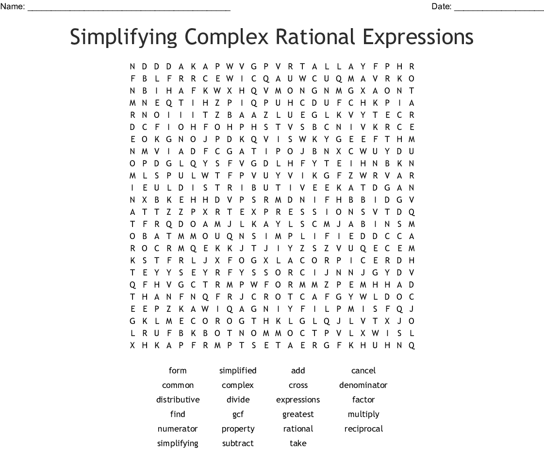 Simplifying Complex Rational Expressions Word Search  Wordmint With Simplifying Complex Numbers Worksheet