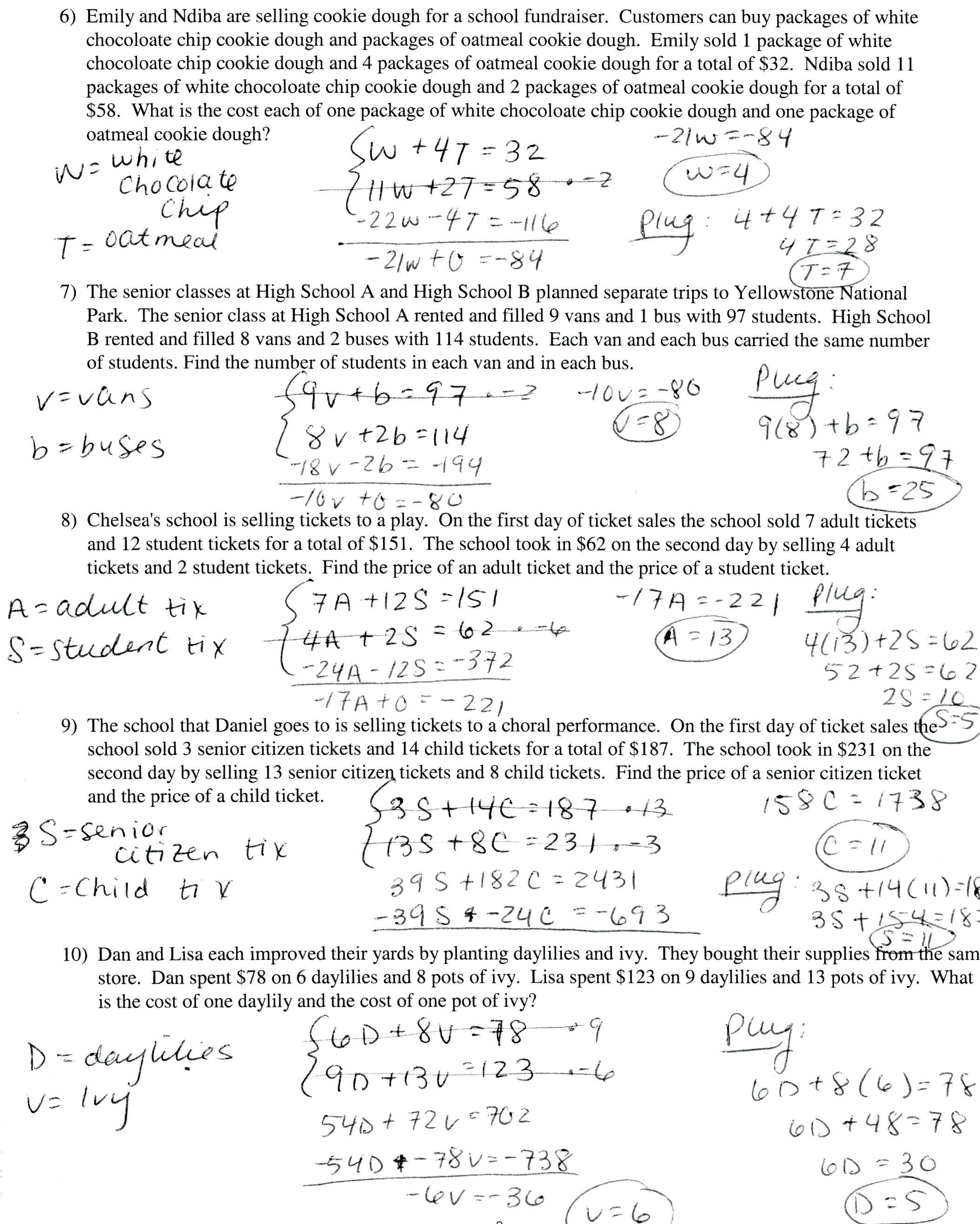 Simultaneous Equations Word Problems Math Writing Linear Equations In Systems Of Equations Word Problems Worksheet