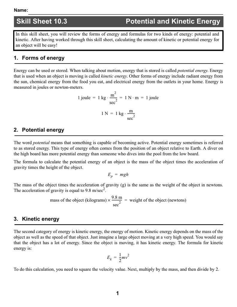 Skill Sheet 103 Potential And Kinetic Energy With Regard To Potential And Kinetic Energy Worksheet Answer Key