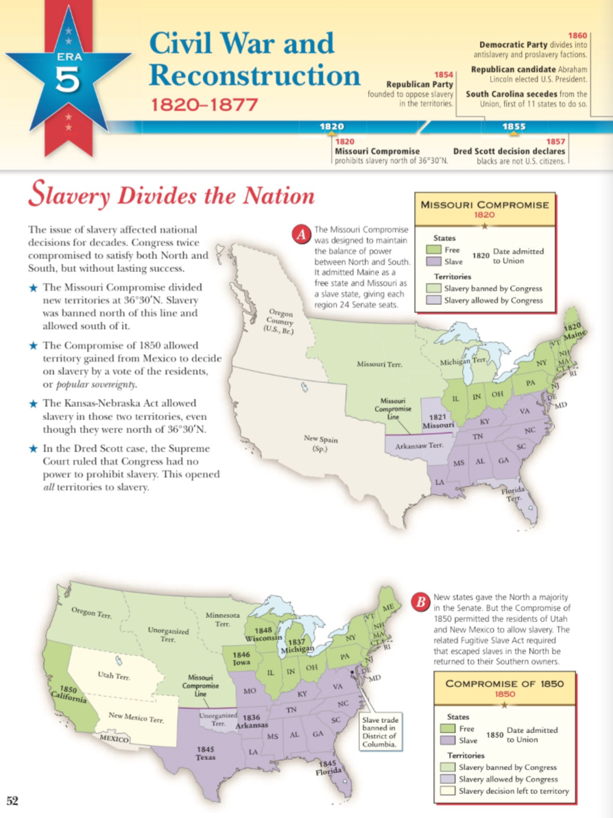 Slavery Divides The Nation Era 5 28A  Mr Peinert's Social Studies Site With Regard To Slavery Divides The Nation Worksheet Answers