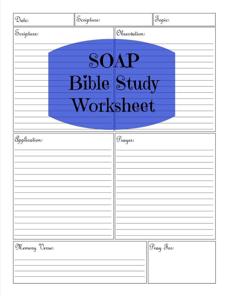 Soap Bible Study Worksheet  Etsy For Bible Study Worksheets