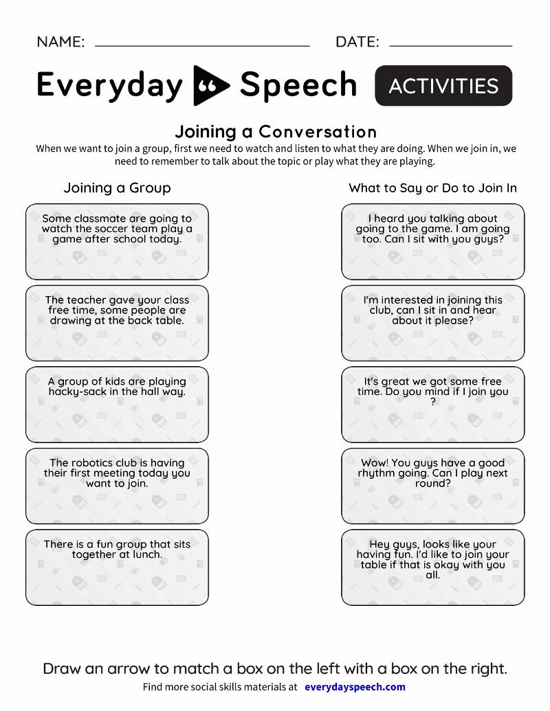 Social Skills Videos  Everyday Speech  Everyday Speech With Positive Communication Skills Worksheets