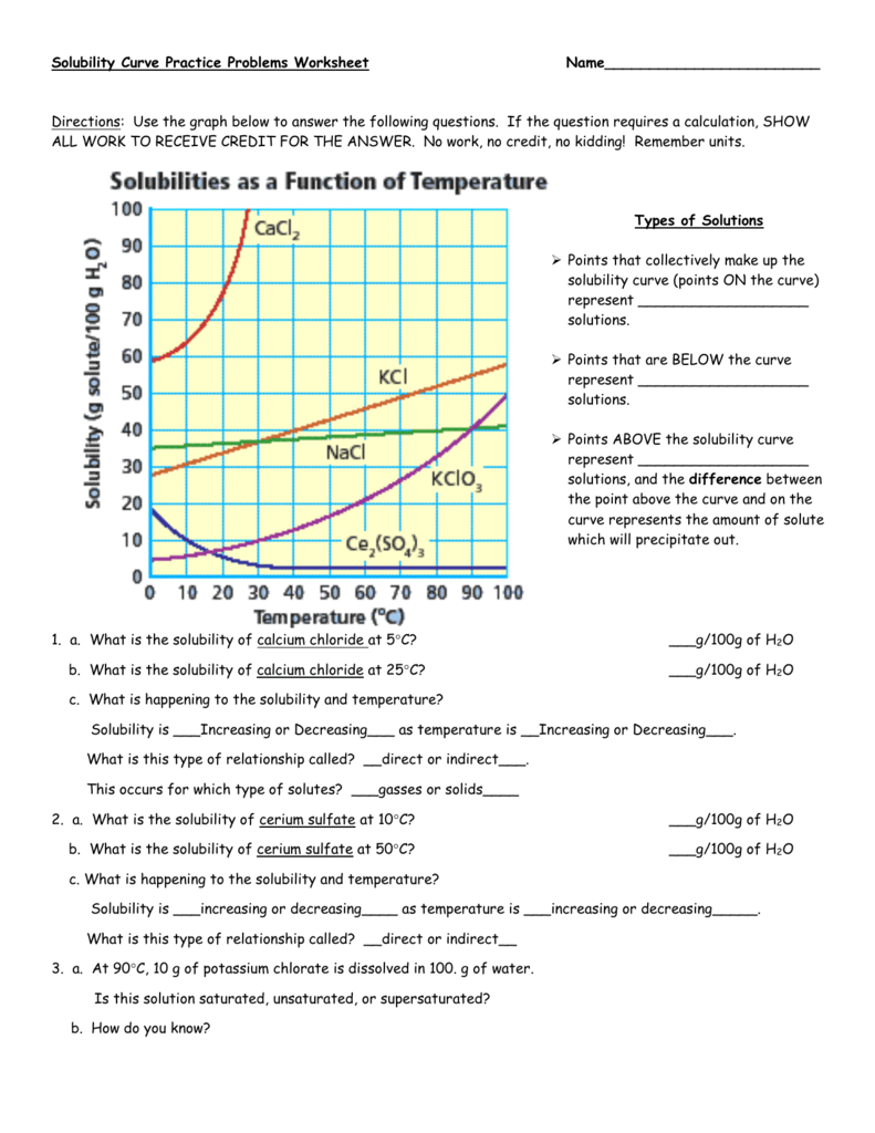 Solubility Curve Practice Problems Worksheet 1 Answers ...