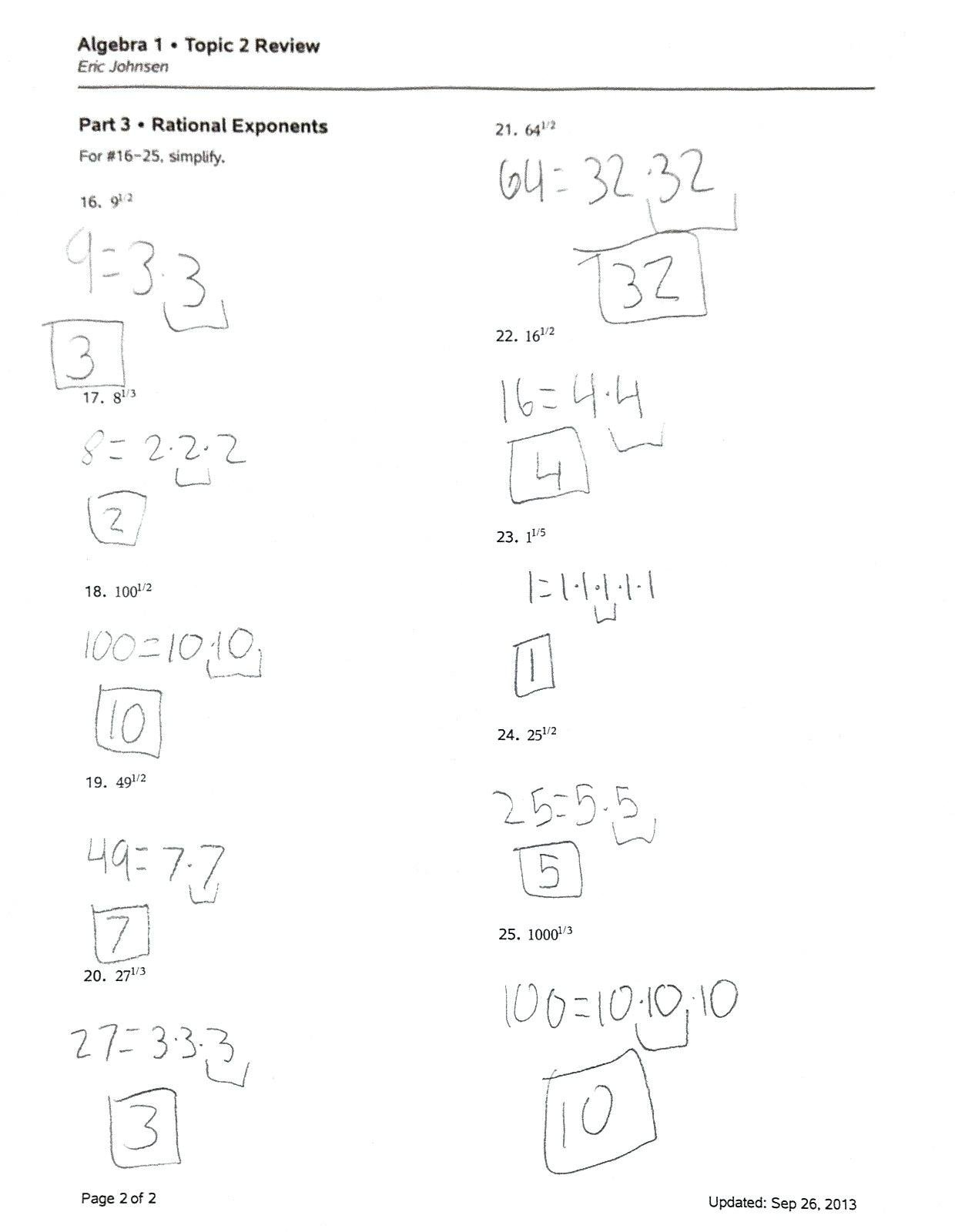 Solve Equations With Fractional Exponents Math Mathematics Vision Within Rational Exponents Equations Worksheet