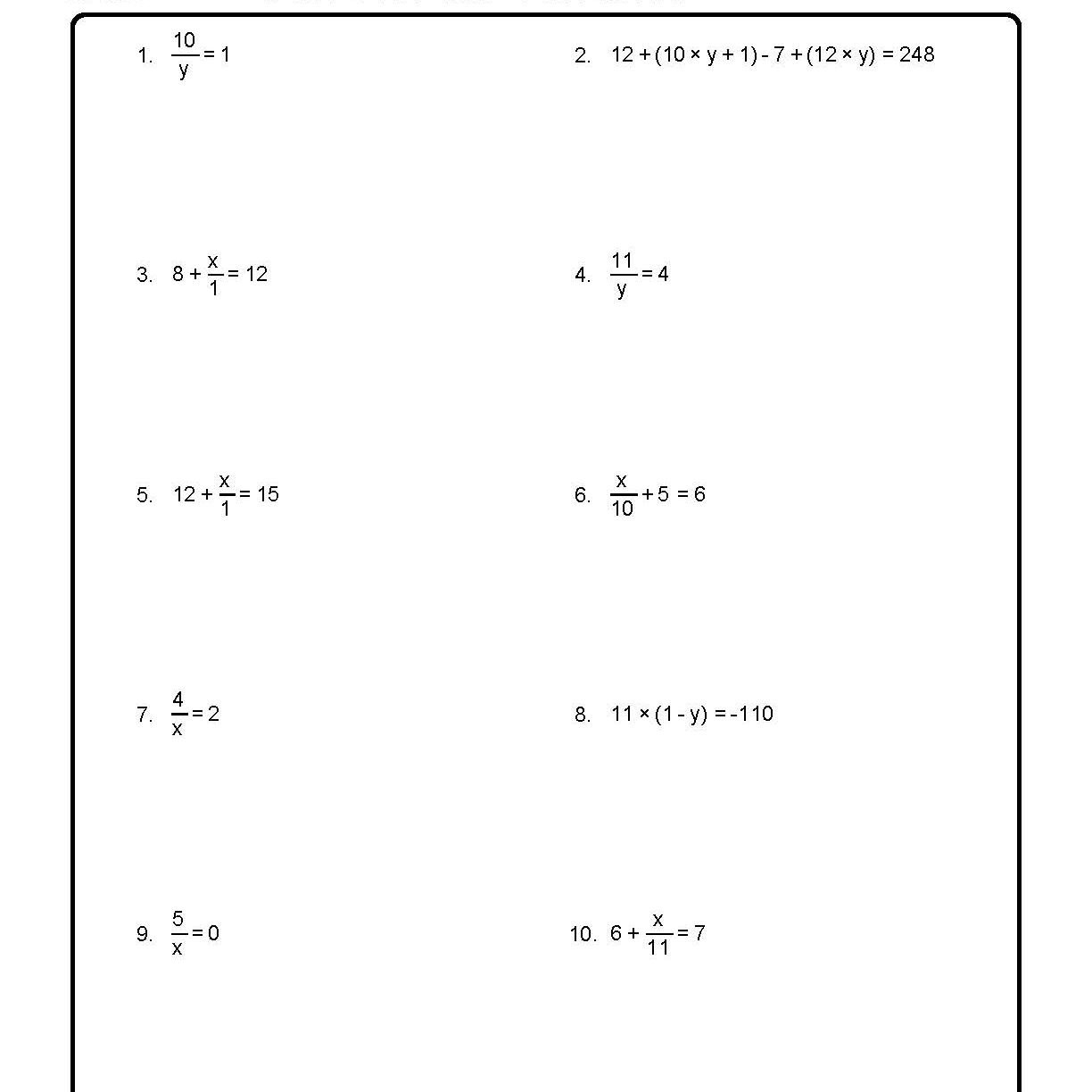 Solve For The Variables Worksheet 1 Of 10 Along With Solving For A Variable Worksheet