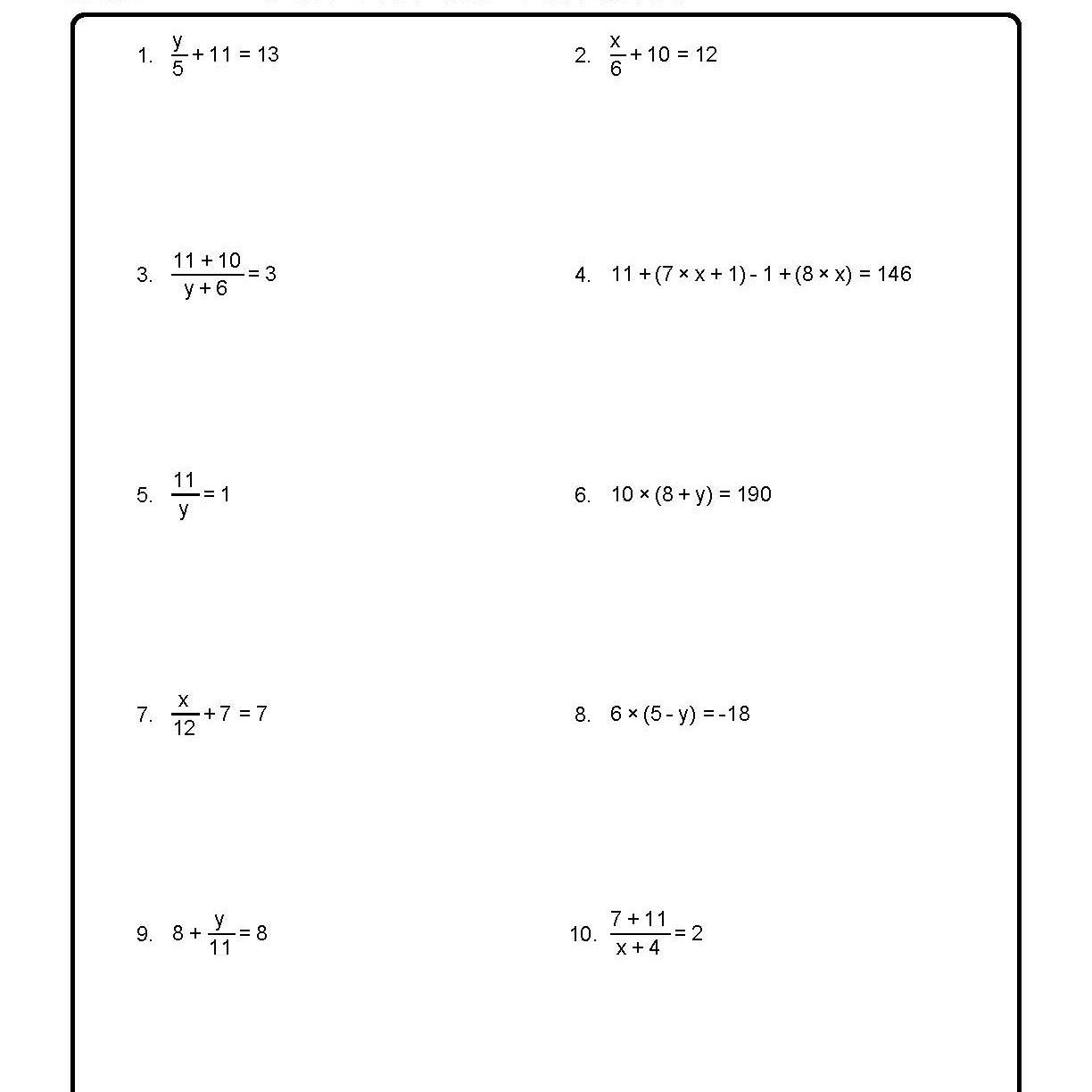 Solve For The Variables Worksheet 1 Of 10 For Solving For A Variable Worksheet