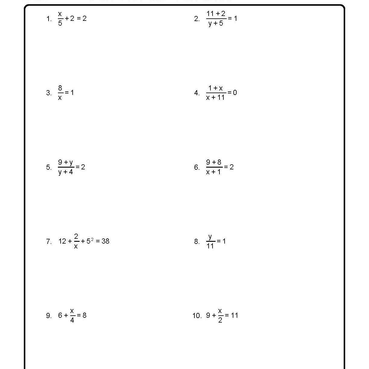 Solve For The Variables Worksheet 1 Of 10 Intended For Solving For A Variable Worksheet