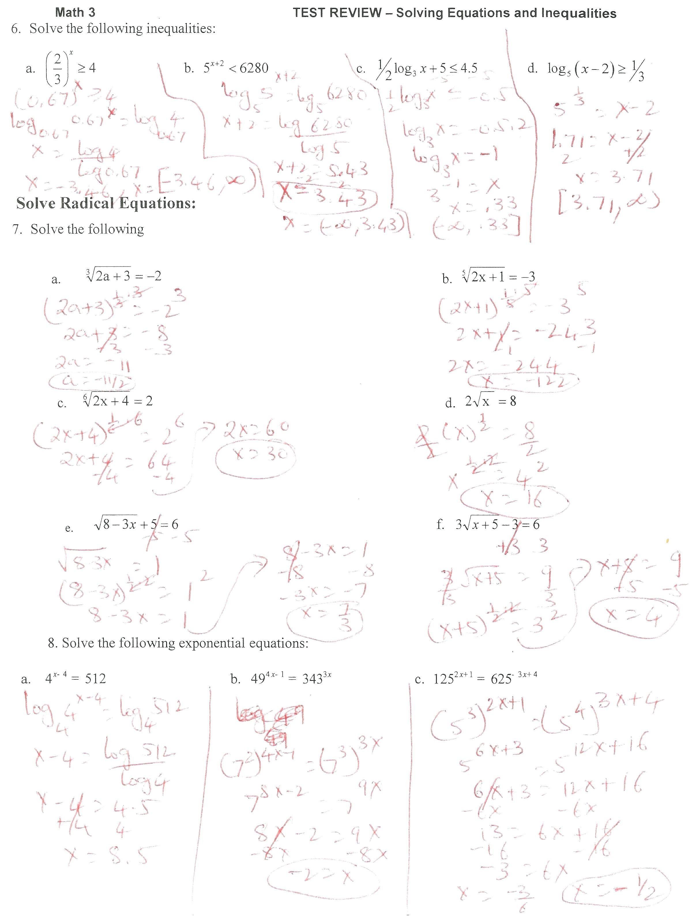 Solving Exponential Math Id Solving Exponential Equations Without Intended For Solving Exponential Equations Worksheet With Answers