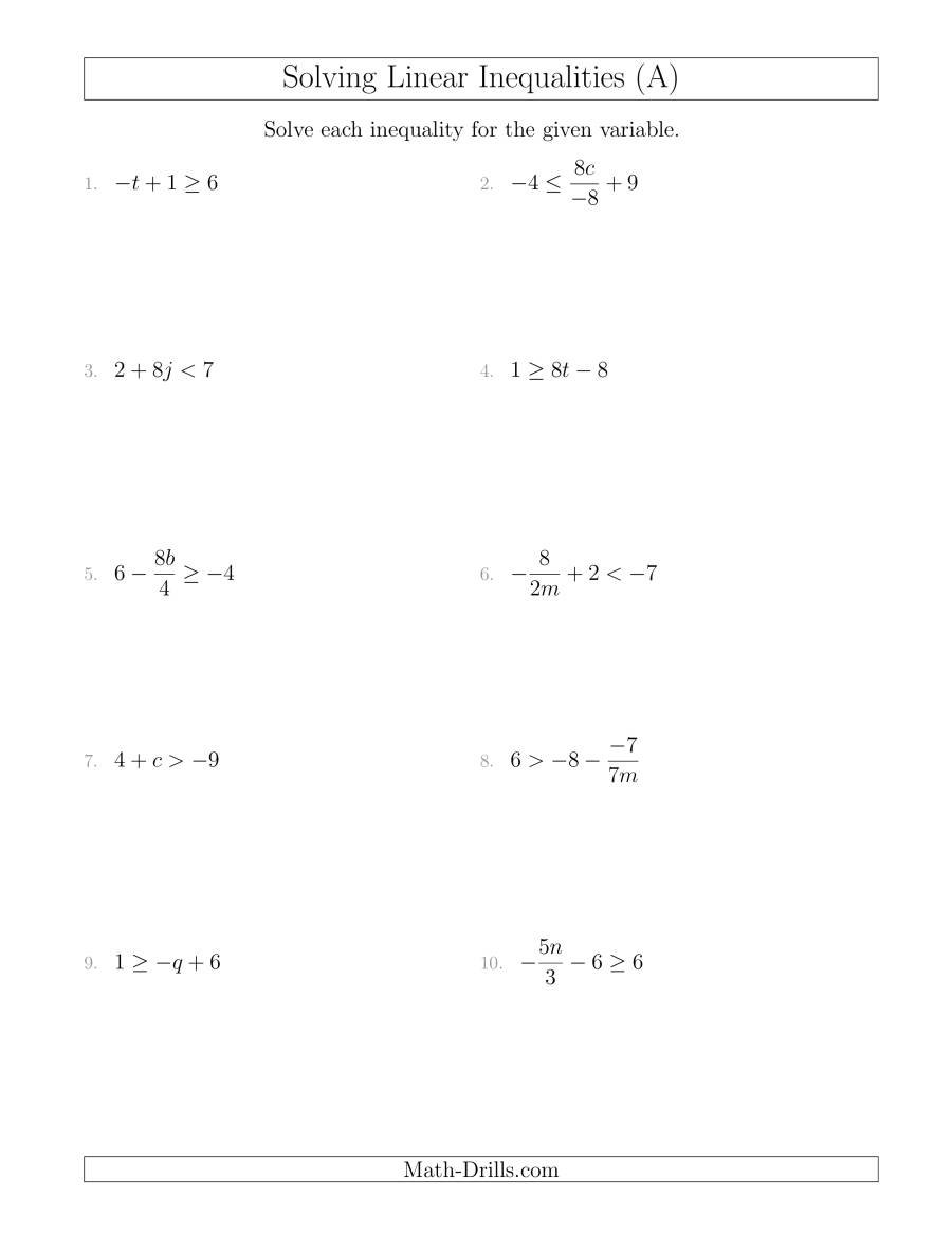 Solving Linear Inequalities Mixed Questions A With Linear Inequalities Worksheet With Answers