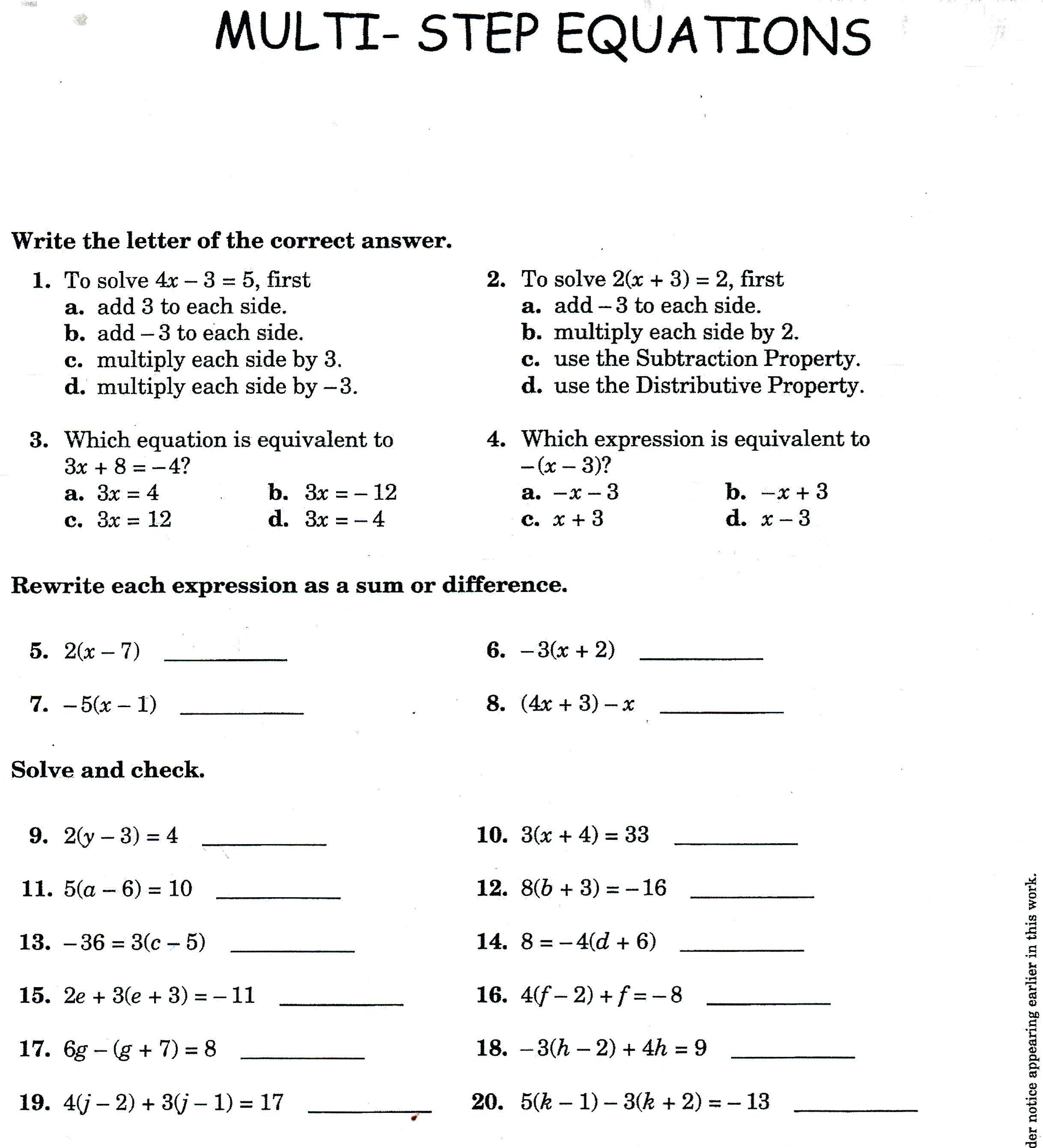 Solving Multistep Equations Math Two Step Algebra Equations For Solving Multi Step Equations With Distributive Property Worksheet