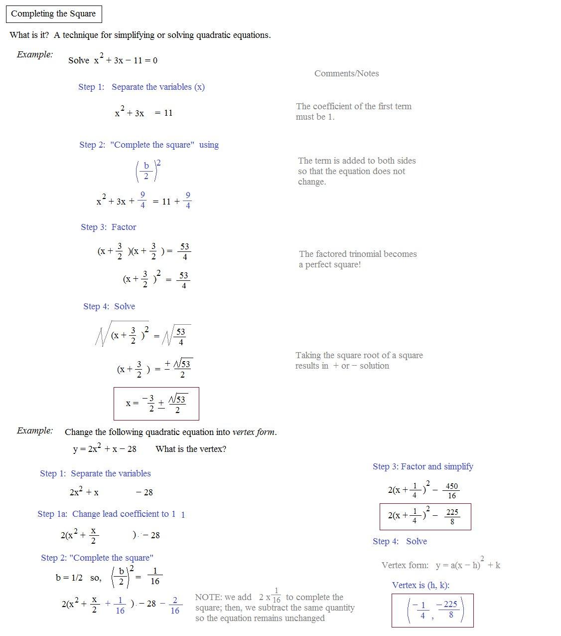 Solving Quadratic Equationscompleting The Square Worksheet With Regard To Solving Quadratic Equations By Completing The Square Worksheet Answer Key