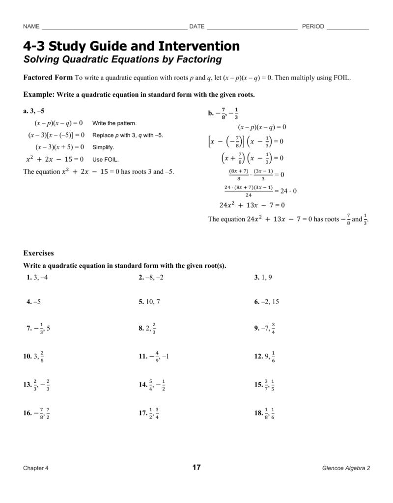 Solving Quadratic Equationsfactoring For Solving Quadratics By Factoring Worksheet