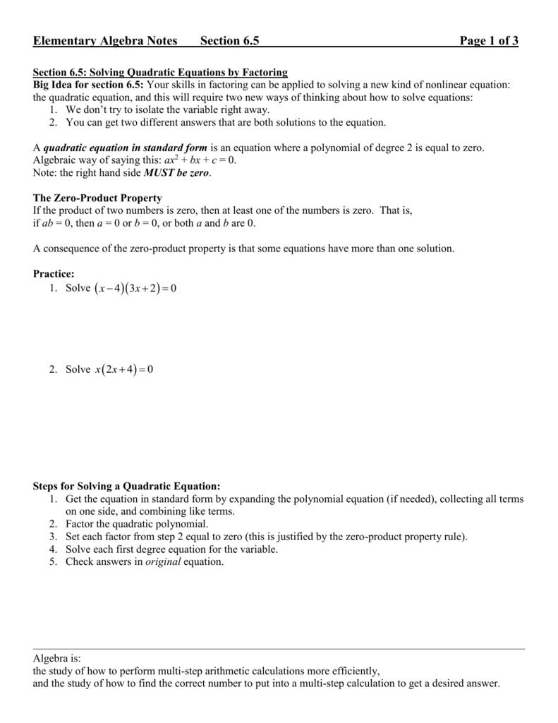 Solving Quadratic Equationsfactoring Or Algebra 2 Solving Quadratic Equations By Factoring Worksheet Answers