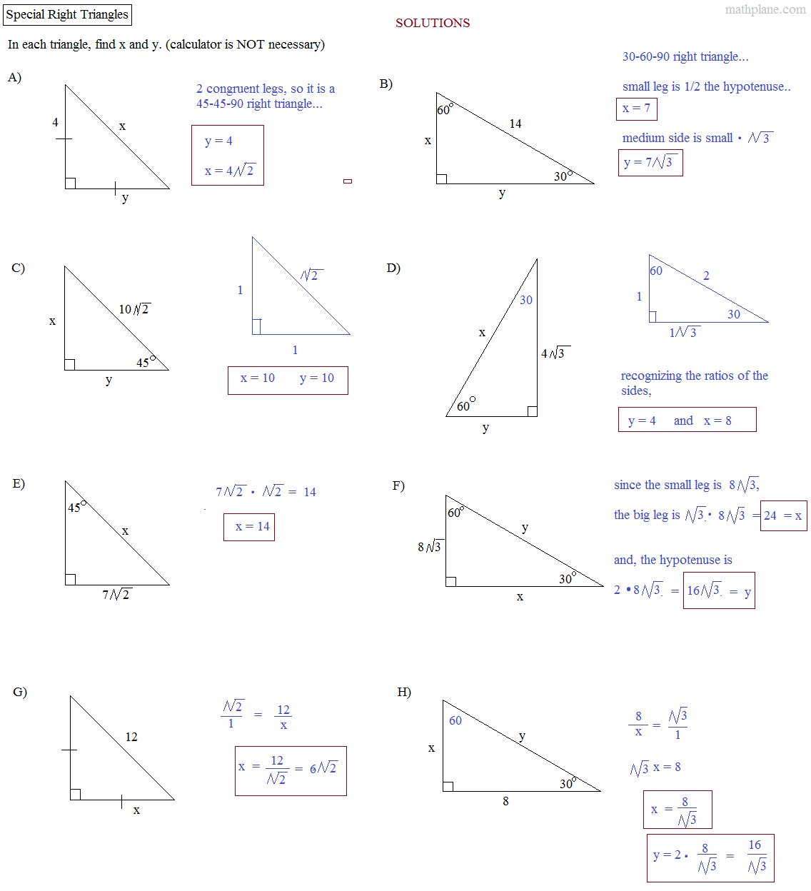 Solving Right Triangles Worksheet Stoichiometry Worksheet With Regard To Special Right Triangles Worksheet Answer Key With Work