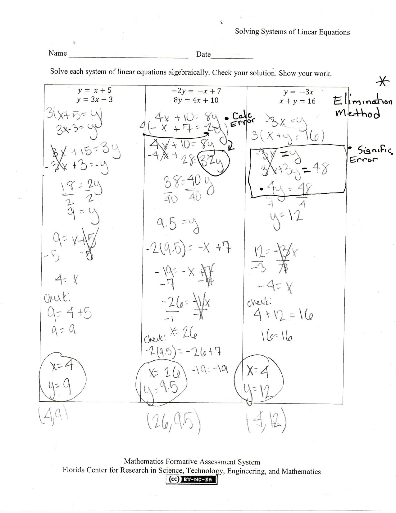 Solving Systems Of Linear Equations Students Are Asked To Solve As Well As Worksheet 3 Systems Of Equations Substitution And Elimination Answers
