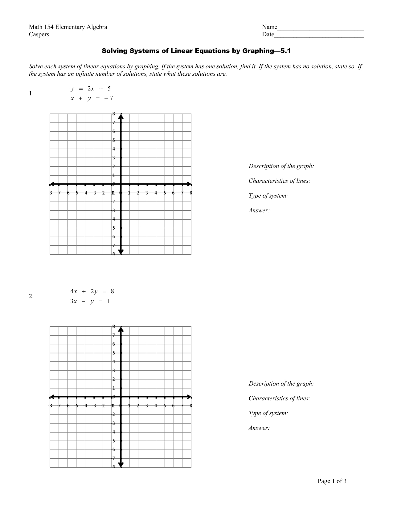 Solving Systems Of Linear Equationsgraphing Worksheet For Solving Systems Of Inequalities By Graphing Worksheet Answers 3 3