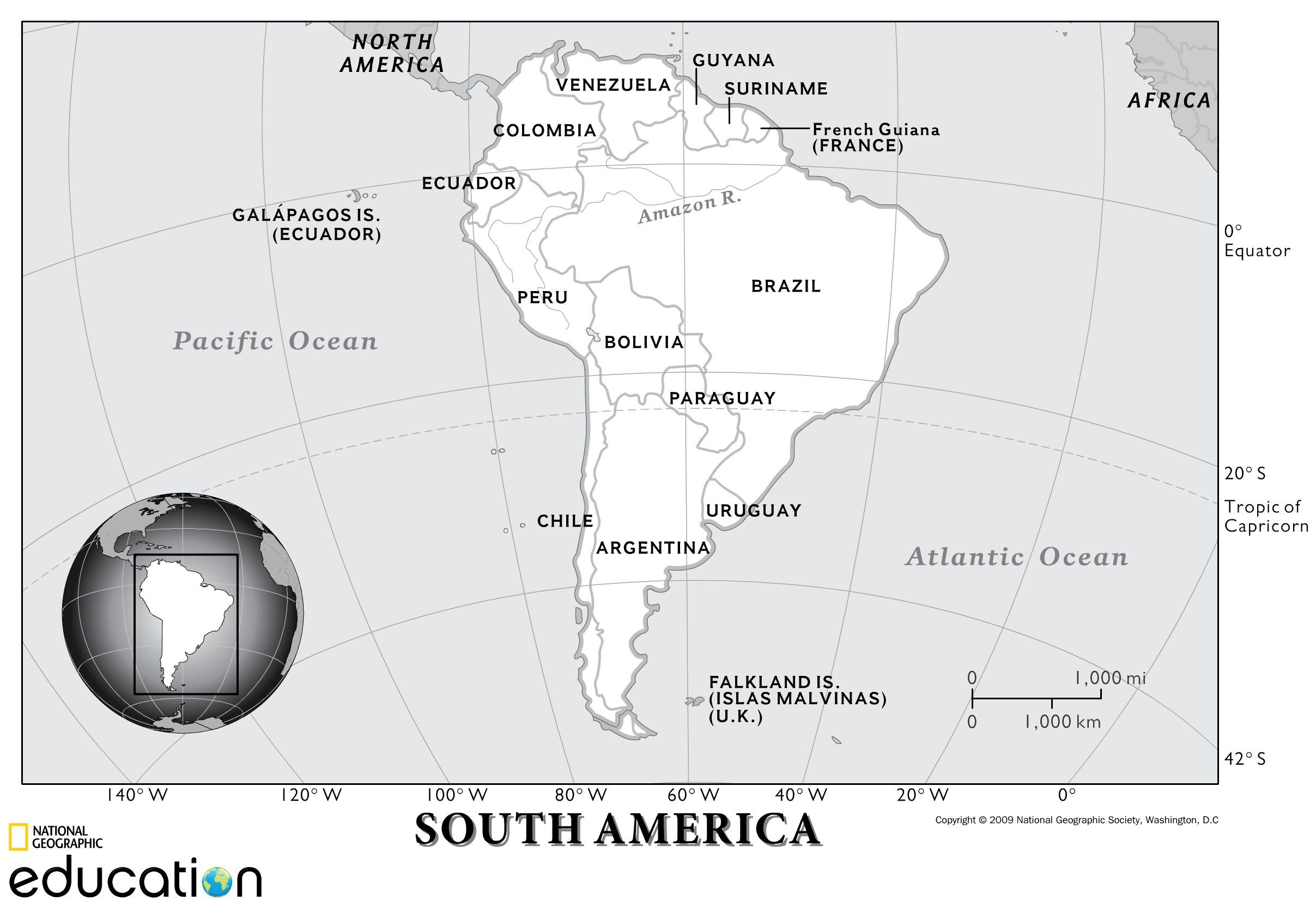 South America Physical Geography  National Geographic Society With Regard To Physical Features Of The United States Worksheet