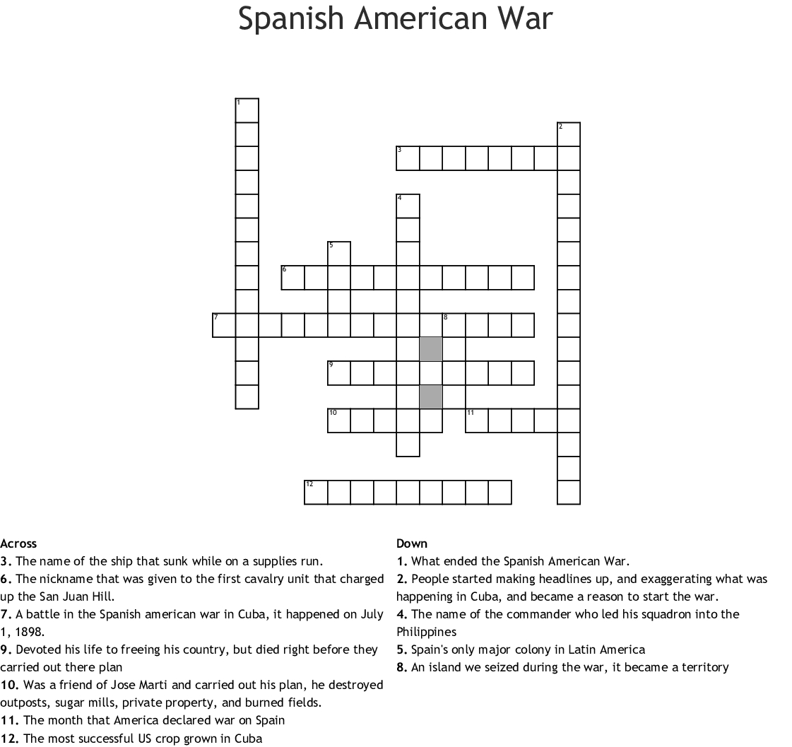 Spanish American War Crossword  Wordmint Together With Spanish American War Worksheet Answers