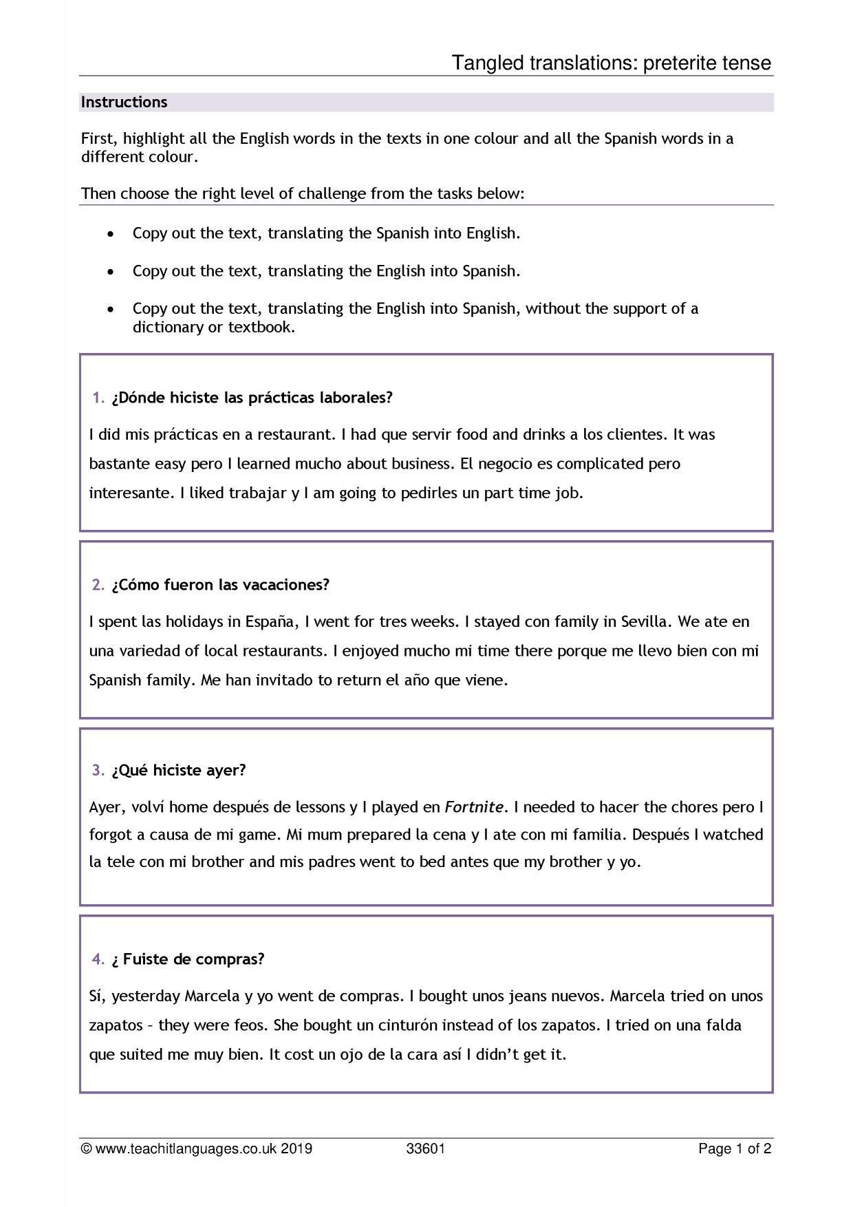 Spanish Language Teaching Resources  Teachit Languages Also Basic English For Spanish Speakers Worksheets