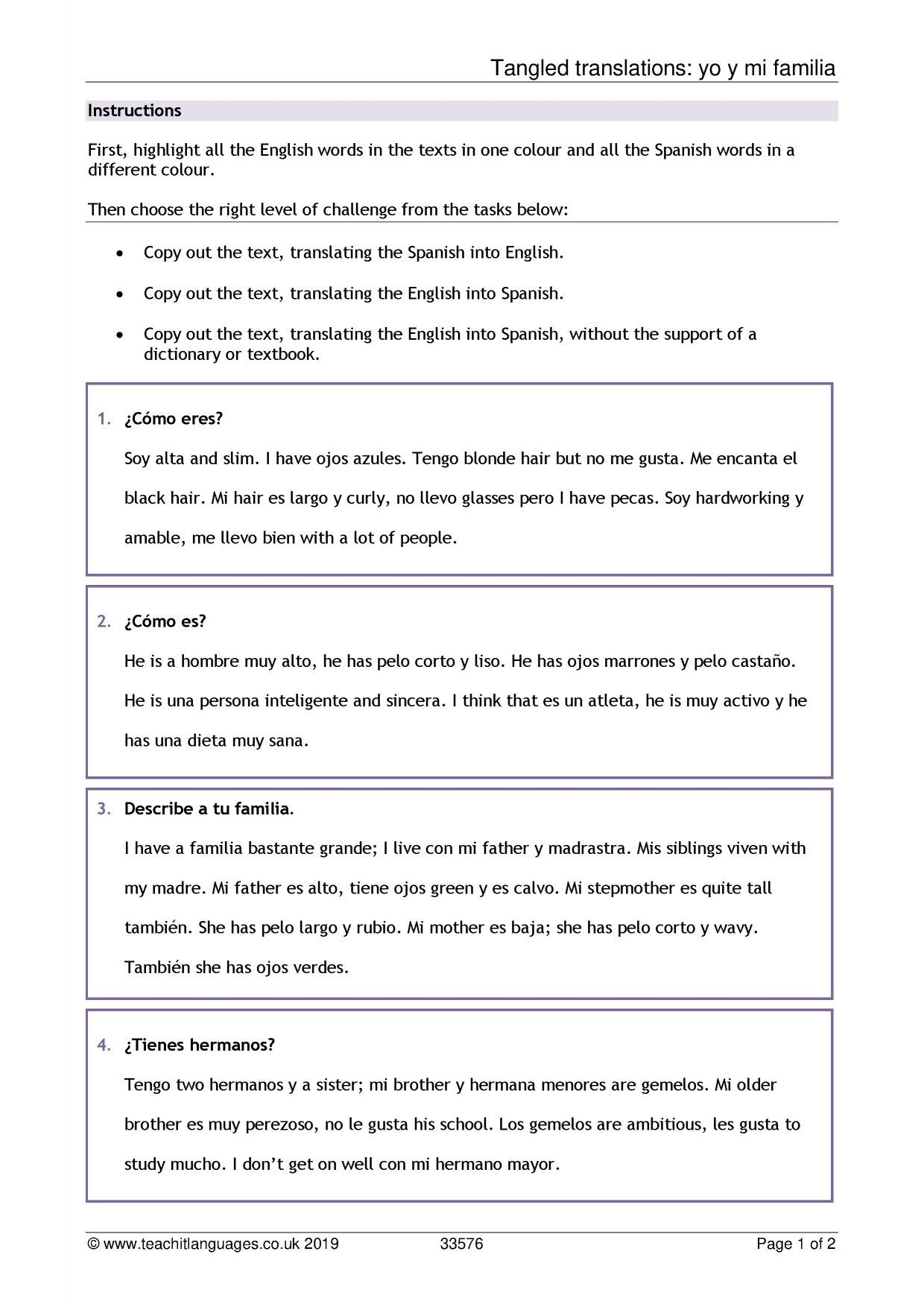Spanish Language Teaching Resources  Teachit Languages For Did You Get It Spanish Worksheet Answers