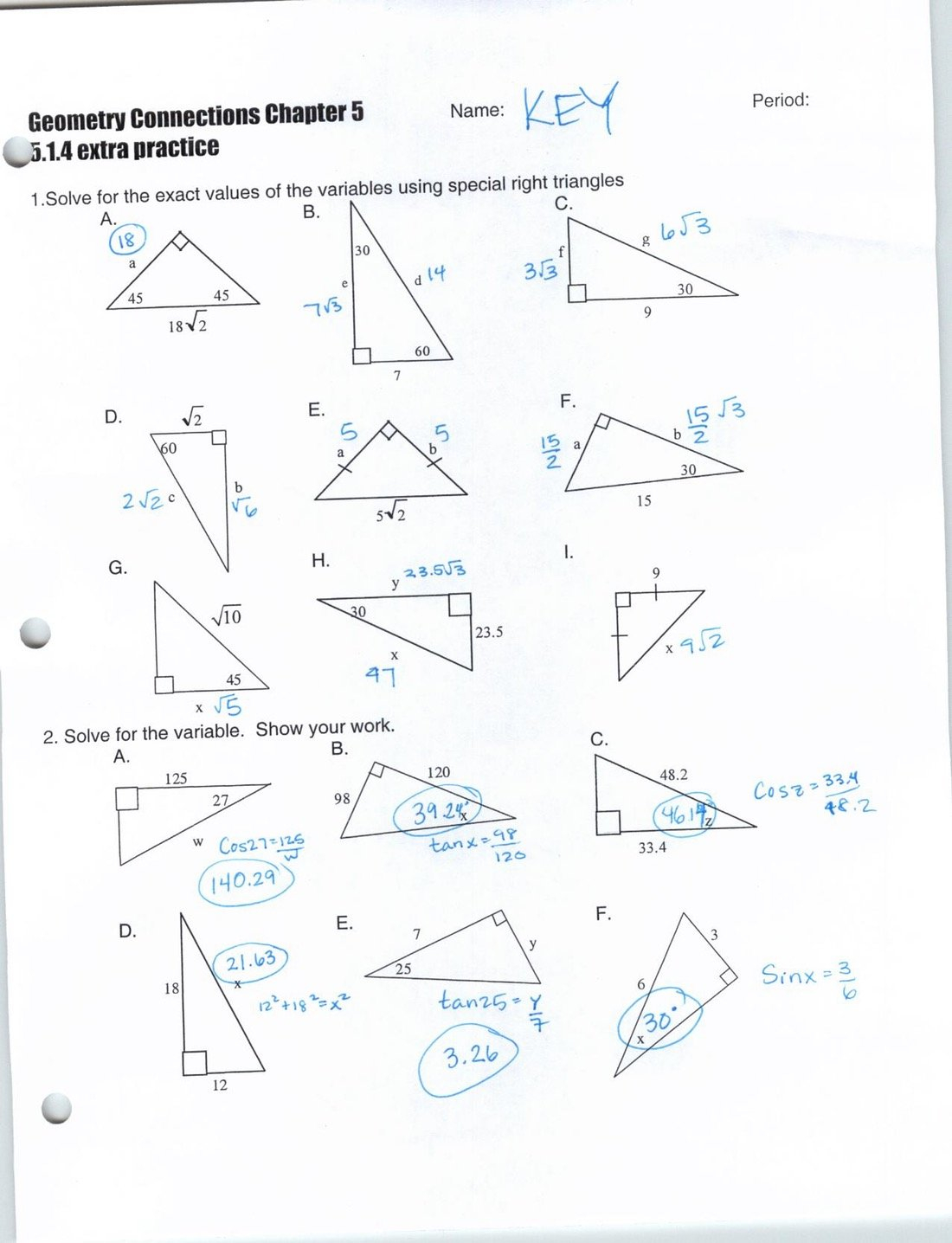 Special Right Triangles Worksheet Answe Similar Right Triangles Also Special Right Triangles Worksheet Answer Key With Work