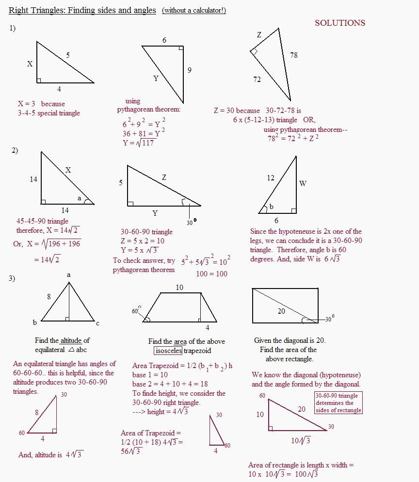 Special Right Triangles Worksheet Answe Similar Right Triangles For Special Right Triangles Worksheet Answer Key With Work