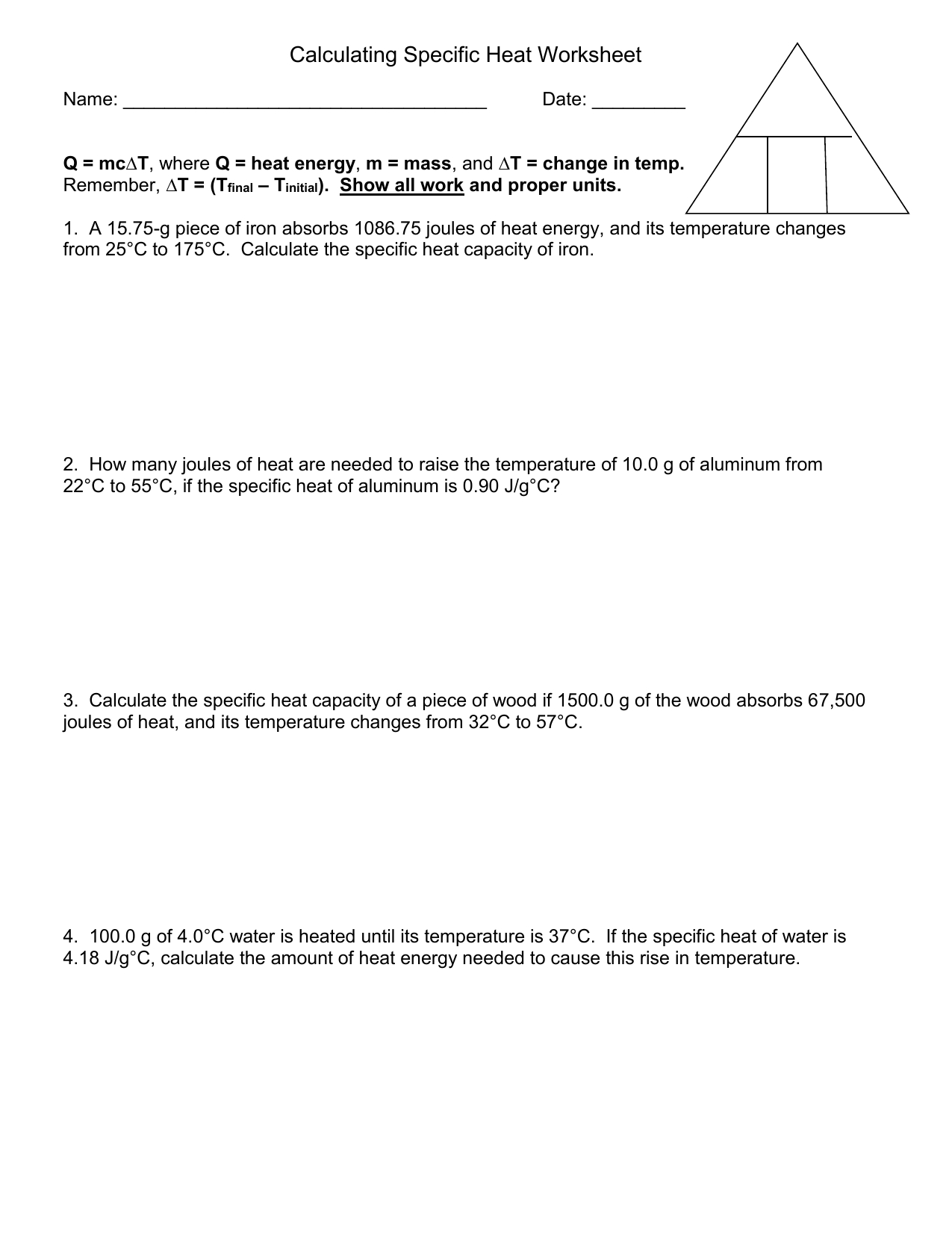 Specific Heat Worksheet Also Specific Heat Calculations Worksheet