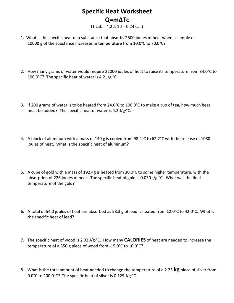 Specific Heat Worksheet Qm∆Tc For Specific Heat Worksheet Answer Key