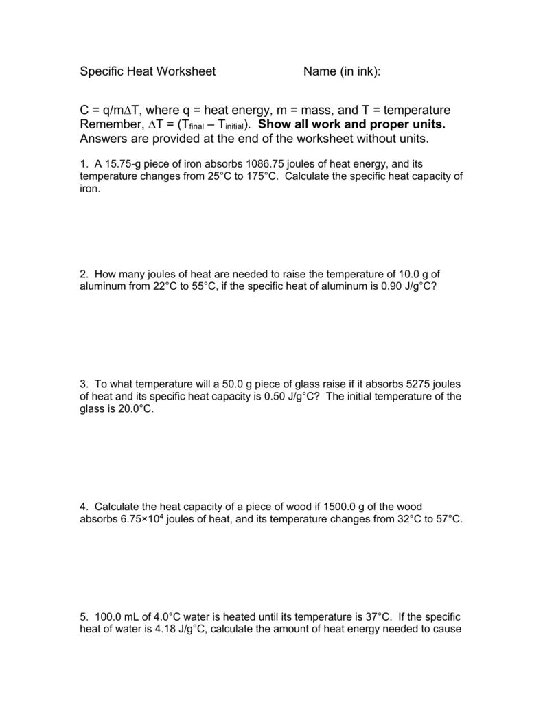 Specific Heat Worksheet Regarding Specific Heat Calculations Worksheet