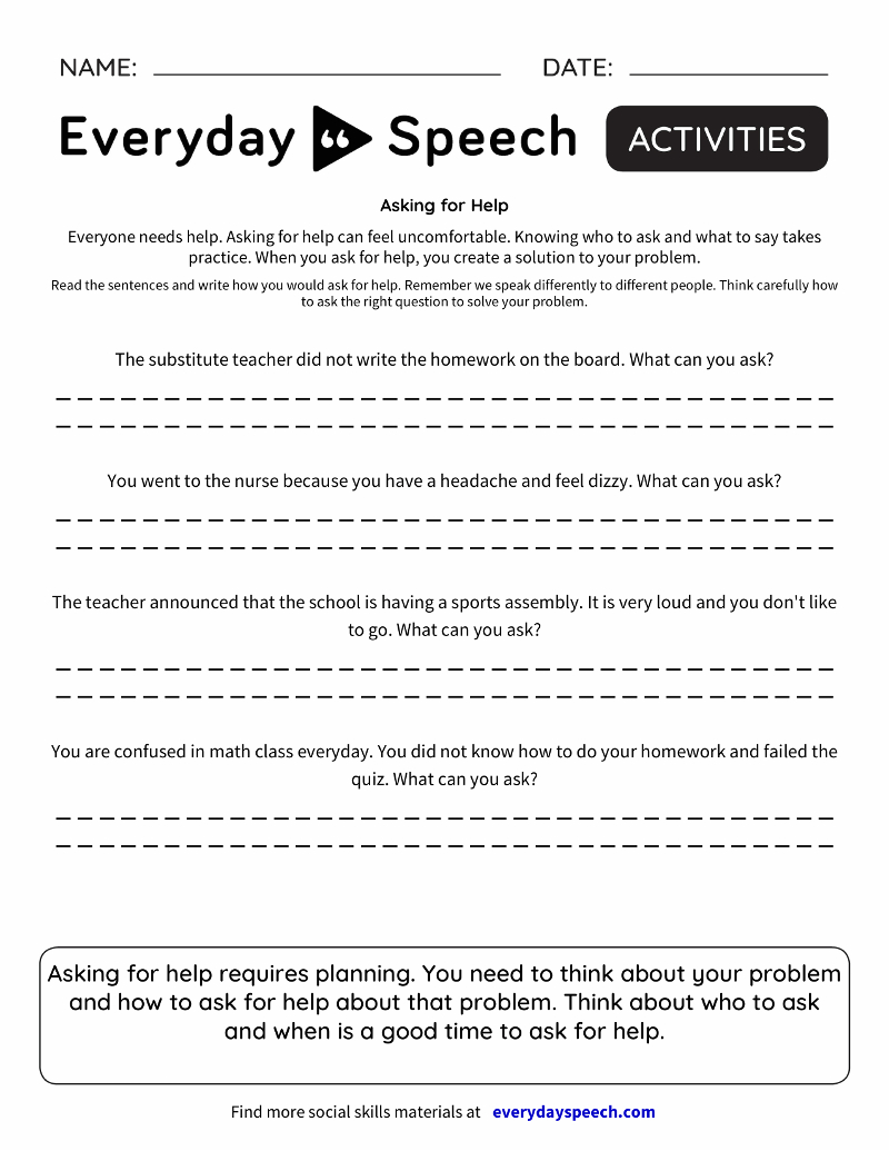 Speech Therapy Worksheet Creator  Everyday Speech  Everyday Speech Or Speech Therapy Worksheets