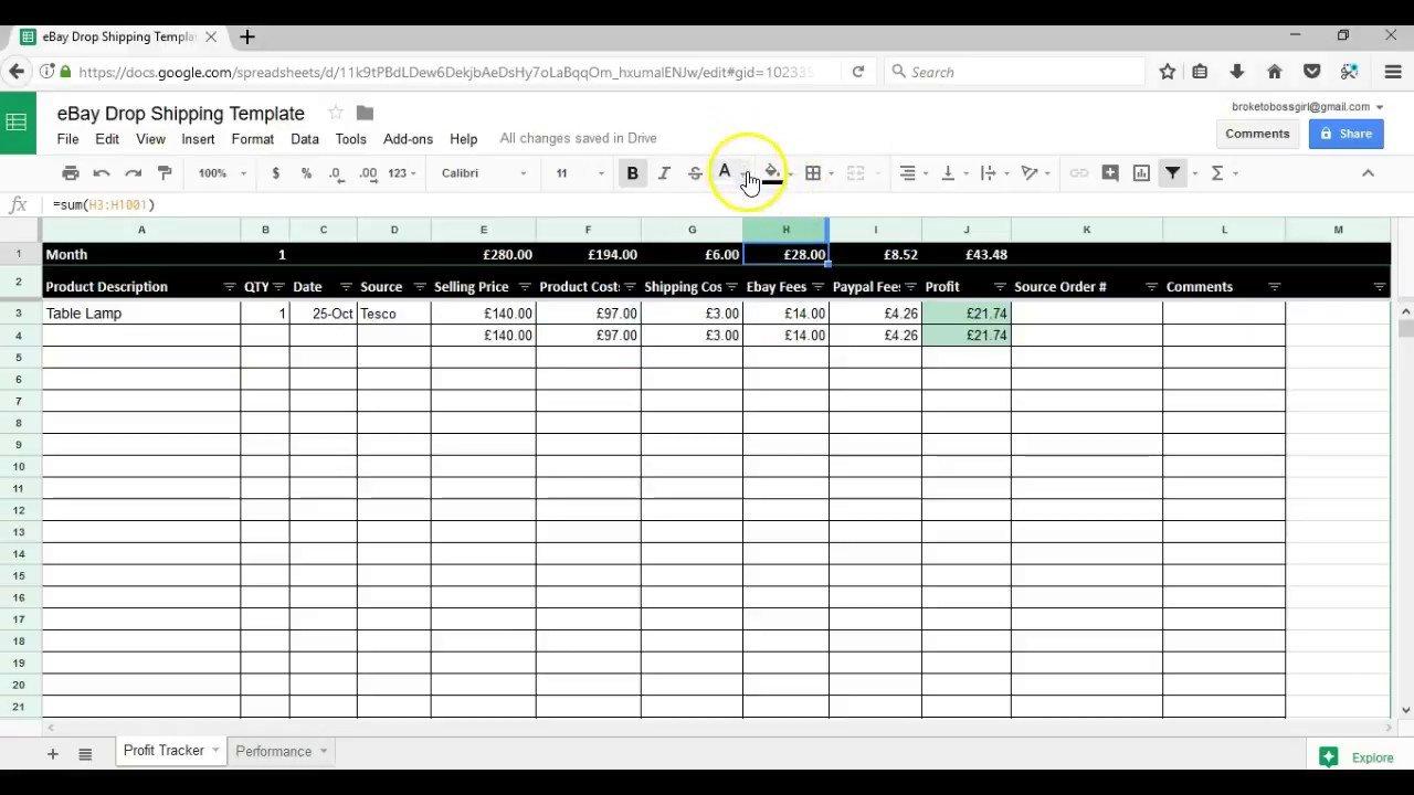 Spreadsheet I Use To Track My Ebay Drop Shipping Profits   Free ... In Ebay Inventory Tracking Spreadsheet