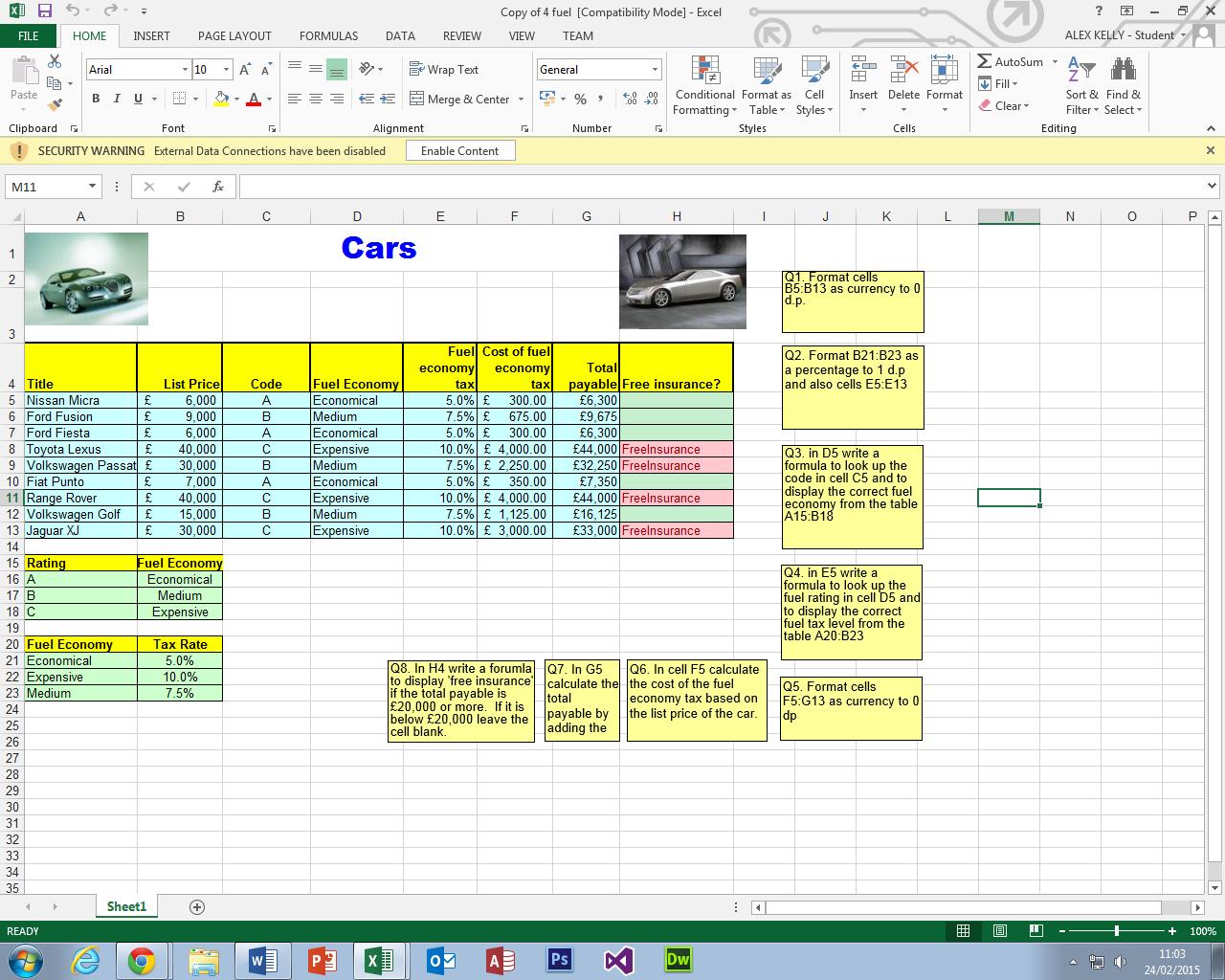 Spreadsheets   Mydigitalportfolio Inside Fuel Spreadsheet