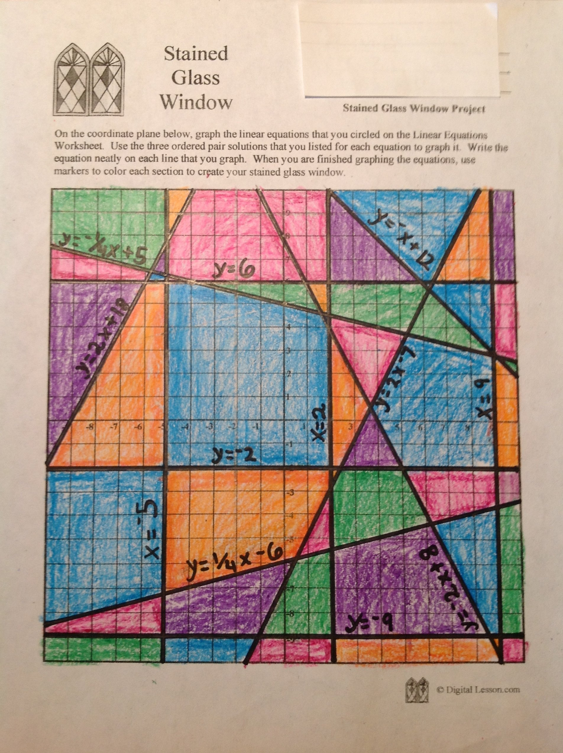 Stained Glass Math Activity  Linear Equations Project Also Stained Glass Blueprints Worksheet Answer Key