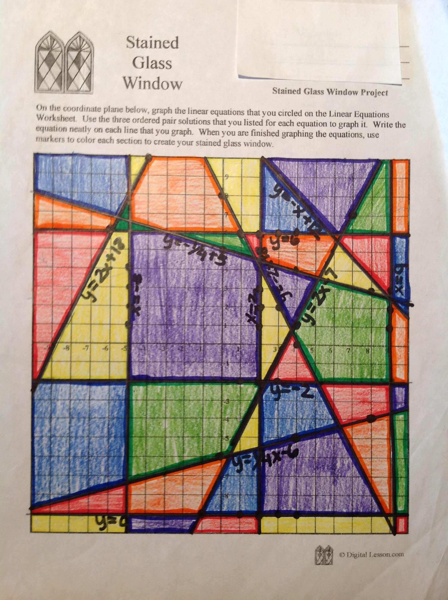 Stained Glass Math Activity  Linear Equations Project Intended For Stained Glass Transformations Worksheet Answer Key