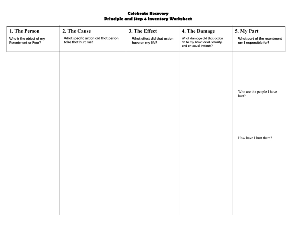 Step 4 Inventory Sheet Within Step 4 Worksheet