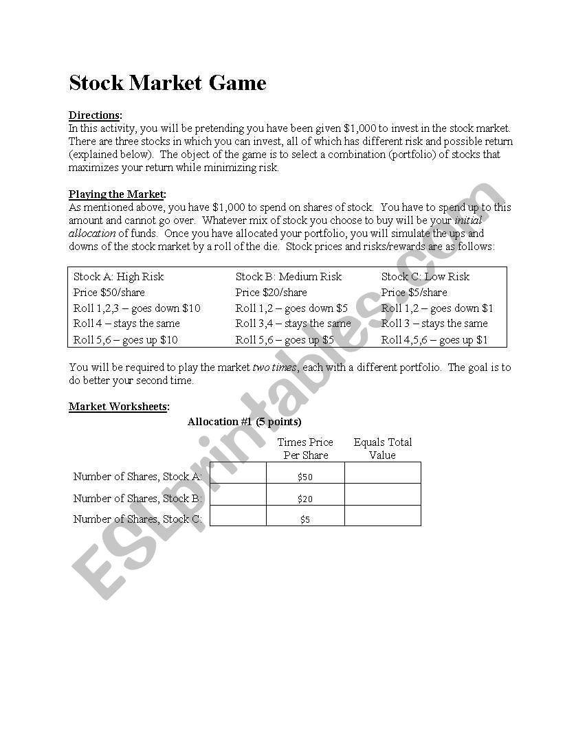 Stock Market Game And Worksheet  Esl Worksheetjaguar92 Or Stock Market Worksheets